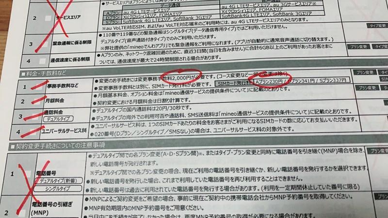 mineo事務手数料とSIMカード発行料